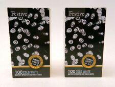 (2 Pack) Festive String Lights Battery Operated Timer LED White 100 Bulbs 32 Ft