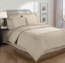 Chezmoi Collection 8pc Mocha Pleated Bed-in-a-Bag Comforter & Sheet Set Cal King