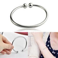 Women Jewelry 925 Sterling Silver Bead Dainty Charm Cuff Bangle Bracelet Gift KP