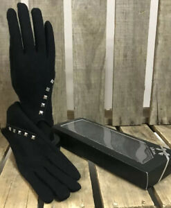 Ladies Black Gloves Silver Studs One Size Boxed