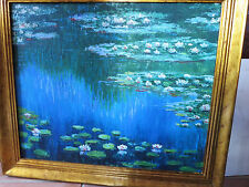 "23""x27"" Framed Oil Painting Water Lily Pond in Spring Monet Landscape River Lake"