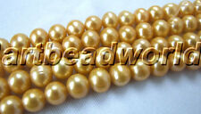 9-10mm genuine natural freshwater pearl gold loose beads USA BY EUB