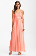 JS Boutique Strapless Beaded Mesh Gown Dress Soft Peach Size 10
