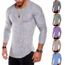 Men's Round Neck Striped Long Sleeve T-shirt Fashion Slim Fit Sport Fitness Tops