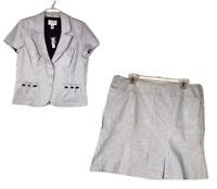 NEW White House Black Market Women's Skirt Suit Size 12 White Black Stripe 67K