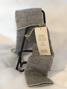 NWT Eileen Fisher Moon Glovettes ECO Collection Natural 100% Cashmere Grey