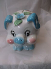 RARE Vintage  Japan Ceramic Piggy Bank Blue Ears Nose Tail & feet ADORABLE!