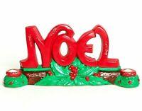Vintage NOEL Chalkware Christmas Candle Holder Glitter Mantel Table Wall Decor