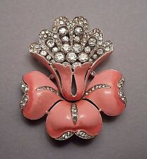 1930s Deco Signed Trifari Pink Enamel & Rhinestone Orchid 2 Prong Clip Brooch