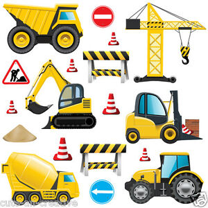 Childrens Construction Diggers Tractors Wall Stickers Decals Nursery Room Con5