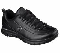 Black Skechers Work shoes Women Memory Foam 76550 Slip Resistant Leather EH Lace