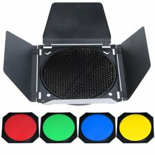 Godox BD-04 Studio Strobe Head Barn Door Honeycomb Grid 4 Color Filter