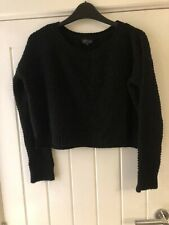 Topshop Black Cropped Jumper Size 6 Knitted Oversized