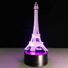 3D Night Light Lamp France Paris Eiffel Tower Structure  Christmas Gift