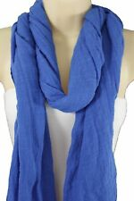 Banana Republic Women Neck Scarf Blue Soft Cotton Fabric Wrap Classic Long Shawl