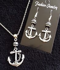 Anchor Necklace + Earrings *SET* Black And White Stripe Nautical Rockabilly *UK*
