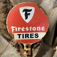 VINTAGE FIRESTONE TIRES PORCELAIN METAL SIGN GAS STATION LUBESTER LUBE PUMP OIL