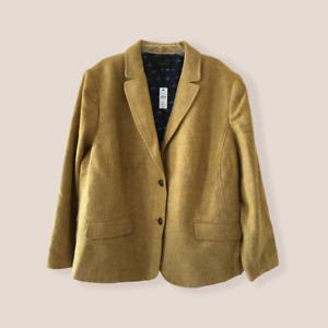 New Talbots 24W Shetland Wool Blazer Jacket Herringbone Equestrian Gold Yellow