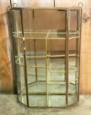 "Vintage Display Cabinet 10"" Tall Glass & Brass Curio 5 compartments"