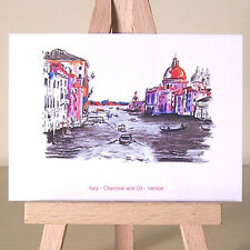 Venice Italy view of the Grand Canal cityscape drawing ACEO art card