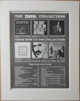 FRANK ZAPPA The Zappa Collection 1991 Music Press Poster Type Advert In Mount