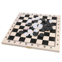 Draughts Checkers Game Foldable Wooden Board & Black White Pieces Board Game
