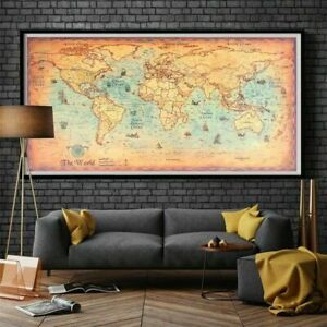Vintage World Map Retro Old Paper Nautical Chart Ocean Sea Painting Wall Posters