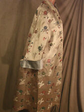 Vintage 50s 60s Satin Opera Coat Asian Reversible Brocade GC L Kimono