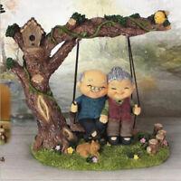 Handmade Resin Craft Elderly Couple Figurines Loving Old Age Life Home Decor