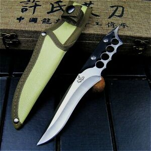 Drop Point Knife Hunting Combat Tactical Survival High Carbon Steel G10 Handle S