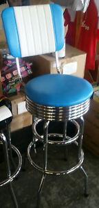 RETRO  CHROME BAR STOOLS / BLUE AND WHITE