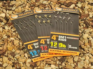 "GURU QM1-SPEED STOP -4"" & 15""- READY TIED RIGS-BARBLESS HOOKS TO NYLON - FISHING"