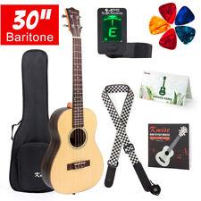 Baritone Ukulele 30 inch Solid Spruce Ukelele 4 String Guitar W/Strap Tuner