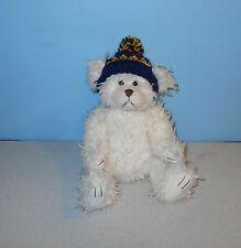 "14"" Furry Shaggy Teddy Bear Jointed Stuffed Plush Animal w/ Blue Knitt Cap"