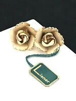 Vintage Lisner Earrings Gold Tone Floral Clip On Original Tags Retro1F
