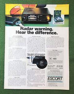 vintage 1980s magazine Ad ESCORT Radar Warning Hear The Difference detector