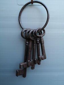 Set Cast Iron Keys Jailer Heavy Ring 5 keys 14cm 8cm Chunky Garden Home Decor