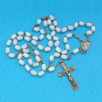 French, Antique Rosary. Glass Bead. Crucifix. Cross. Rosarie. Mary.