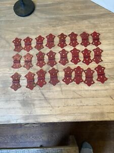 24- Vintage Chippy Red Paint Butterfly Door cabinet Hinges