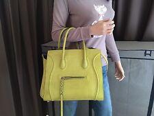 Auth CELINE Square Luggage Phantom Medium Chartreuse Nubuck Leather Tote Hanbag