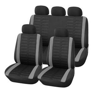 9PCS/Set Car Seat Covers Cushion Full Set Front+Rear For Sedans Gray 3MM Sponge