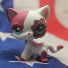 2'' Pink White Sparkle Glitter Short Hair Cat Littlest Pet Shop LPS998 Puppy