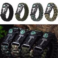 Rope Paracord Survival Bracelet FireStarter Compass Whistle Outdoor High Quality