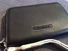 Vera Bradley Faux Leather Zip-Around Wristlet Black / White Trim NWT MSRP $48