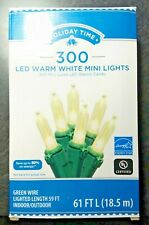 300ct WARM WHITE LED Mini Lights RETAIL BOXED GR Wire Holiday/Wedding Indoor/Out