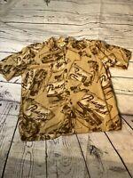 Panama Jack shirt  L Rum Brown Hawaiian Beach Button Front Shirt Large