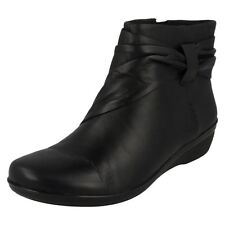 Ladies Clarks Casual Zip up Ankle BOOTS Everlay Mandy 5.5 UK Black D