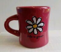 Life is Good Daisy Flower Purple Diner Coffee Mug Heavy 12 oz. Do What You Like