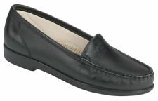 SAS SIMPLIFY Womens Black 1550 013 Leather Comfort Slip On Loafers Shoes
