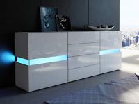 Large RGB Sideboard High Gloss Furniture LED Cabinet Cupboard Storage Drawers UK